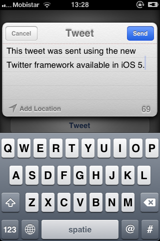 iOS 5 and The Twitter Framework (Part 1): The Tweet Compose View - Figure 8