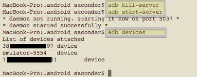 Mac command line showing successful adb restart and Kindle Fire device