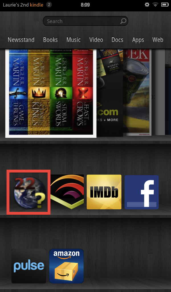 Screen shot of Kindle Fire showing fuzzy app icon