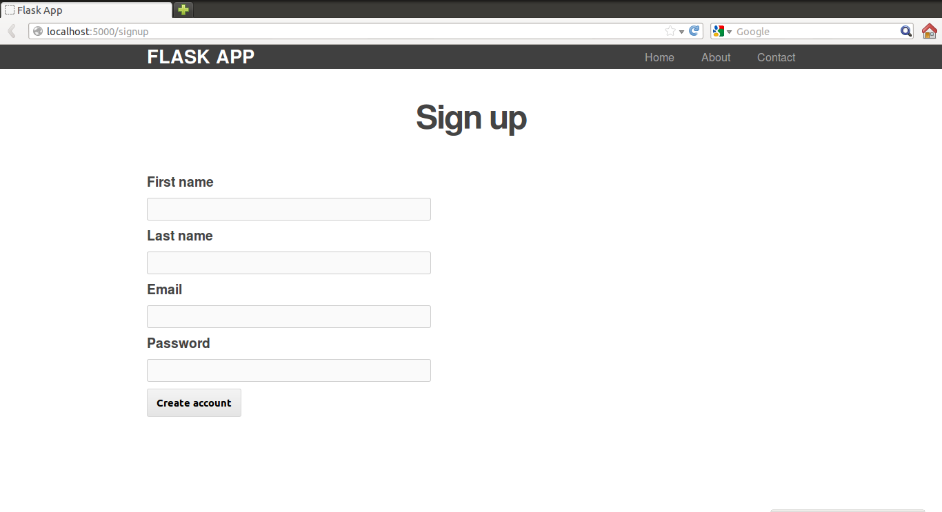 The sign up page.