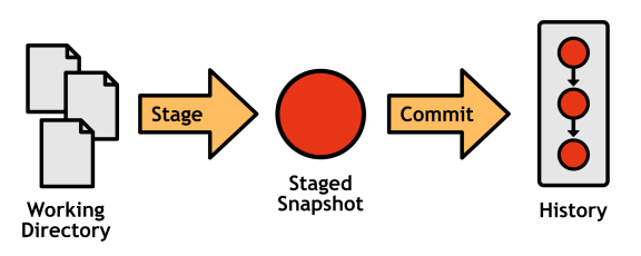 Figure 4: The working directory, staged snapshot, and committed history