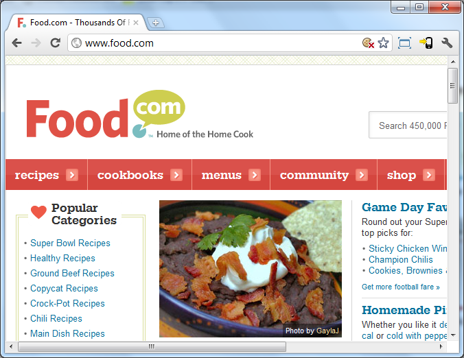 Figure 1 foodcom home page