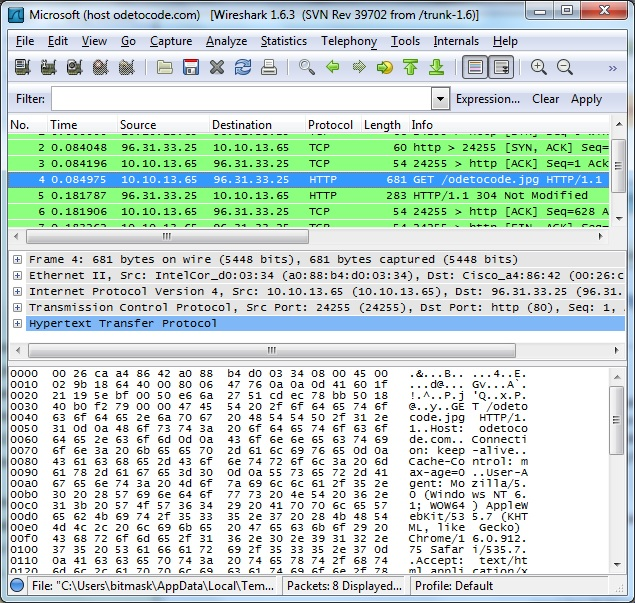 Figure 5 Using Wireshark