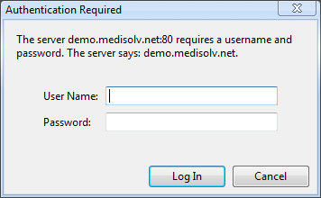 Figure 8: Authentication dialog