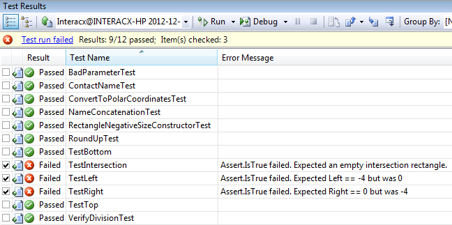 VS2008 Test Results UI