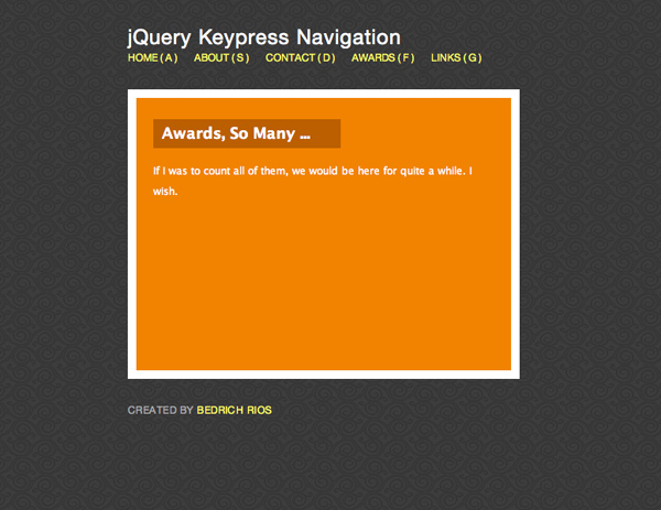 How To Create A Keypress Navigation Using jQuery