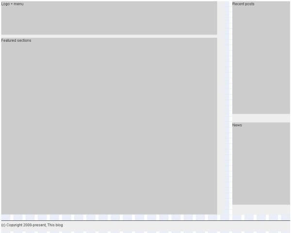 Prototype a magazine style home page template with the blueprint css step 4 rough blocking stage 3 malvernweather Choice Image