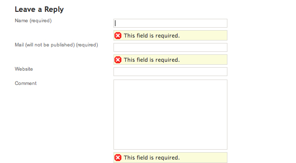 Adding Form Validation To Wordpress Comments Using Jquery