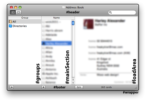 Mimicking Apple's Address Book for the Web