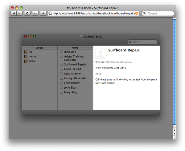 mimicking apple s address book for the web