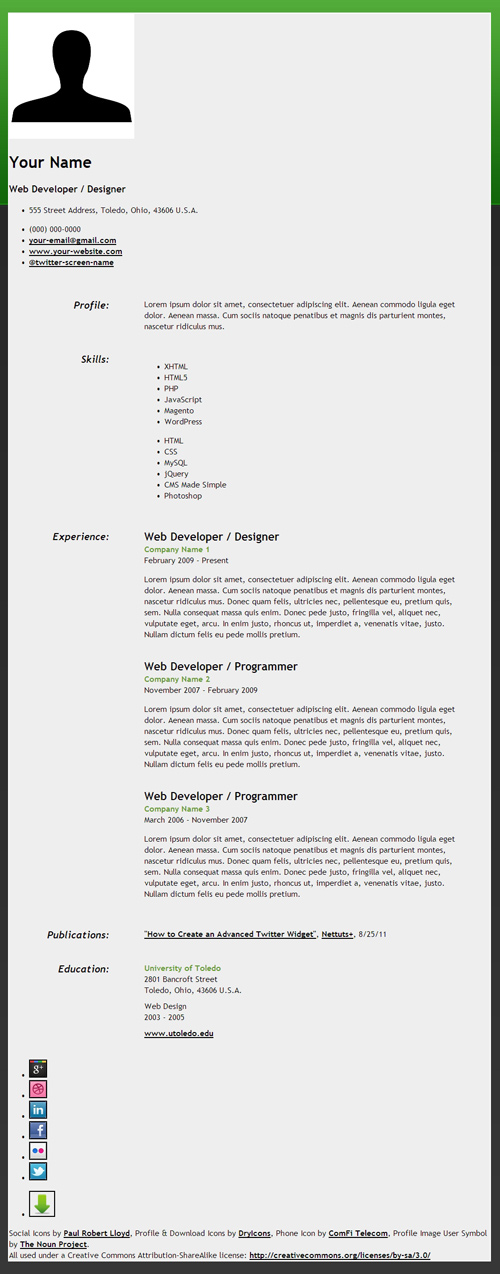 25 Free HTML Resume Templates for Your Successful Online