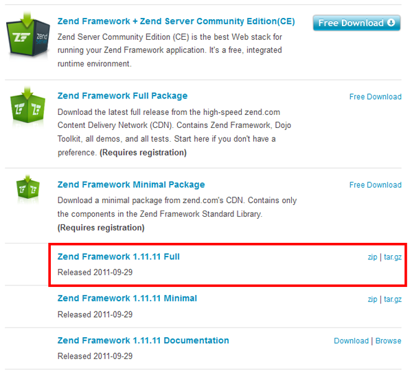 Zend Framework download list