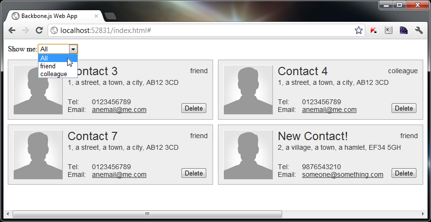 build a contacts manager using backbone js part 3