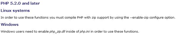 PHP.NET Zip info