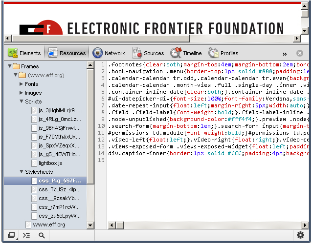Stylesheets from Chrome dev tools