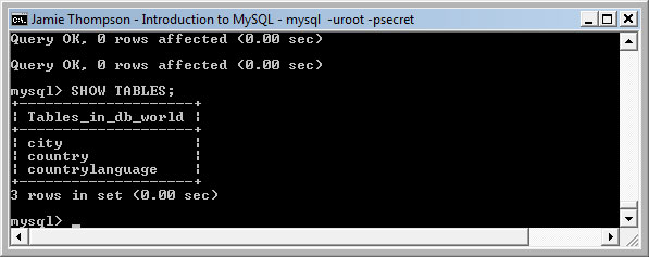 how to show the tables in mysql