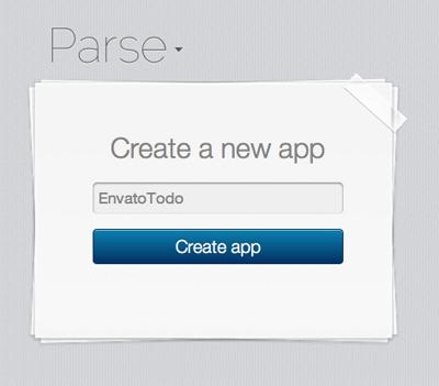 Criando um novo app no Parse