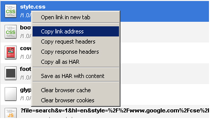 Network panel context menu