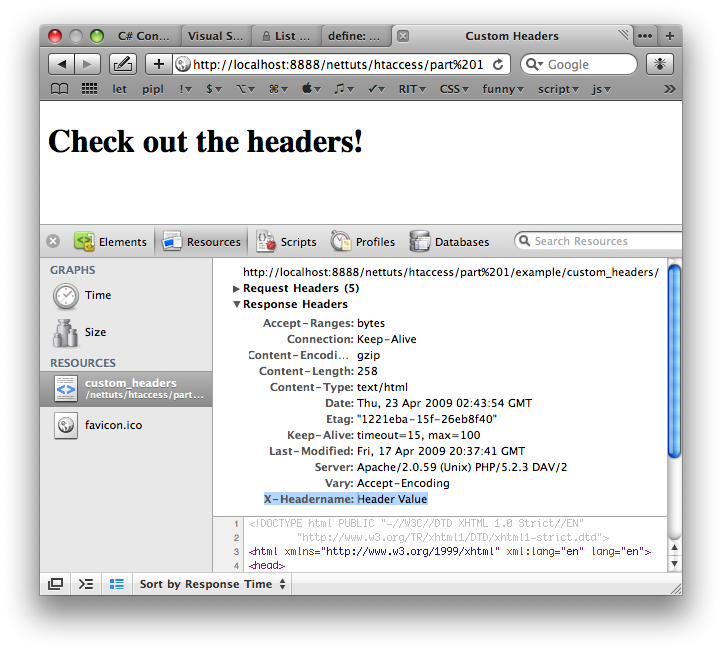 Custom Header Shown in Safaris Web Inspector
