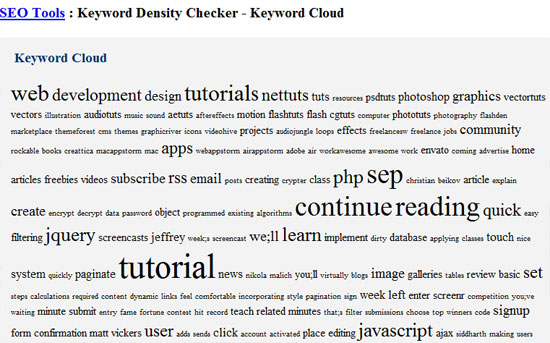 Webconfs Keyword Cloud