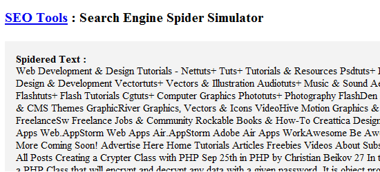 WebConfs' Spider Simulator