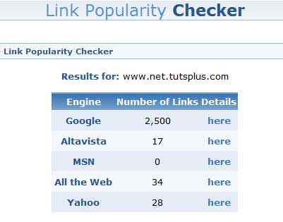 WebMaster Toolkit Link Popularity Checker