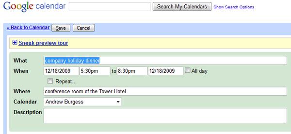 Google Calendar, importing hCalendar
