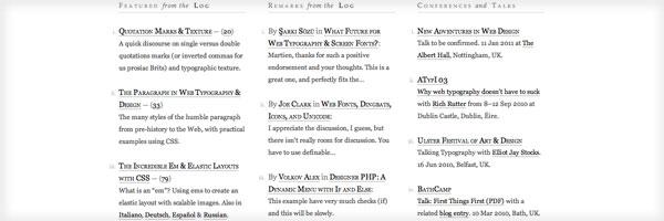 JonTangerine.com, typographic excellence