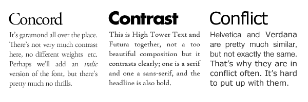 Contrasting, conflicting and concording relationship between fonts.