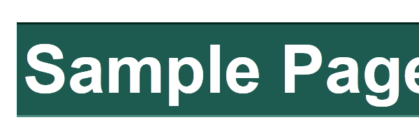 example of the h1 tag with green background, lighter bottom border, darker top border
