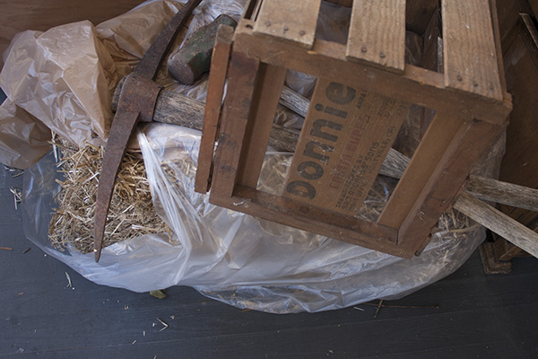 Cheap, evocative props. The crate is for melons, not wine, but that shouldn't matter from the right angle.