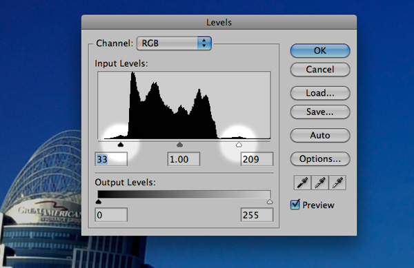 "A ""levels"" adjustment in Photoshop. By positioning the shadow and highlights sliders at the edges of the histogram, I'm insuring that there is a pure white and pure black in the image."