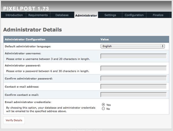 Creating Pixelpost administrator account