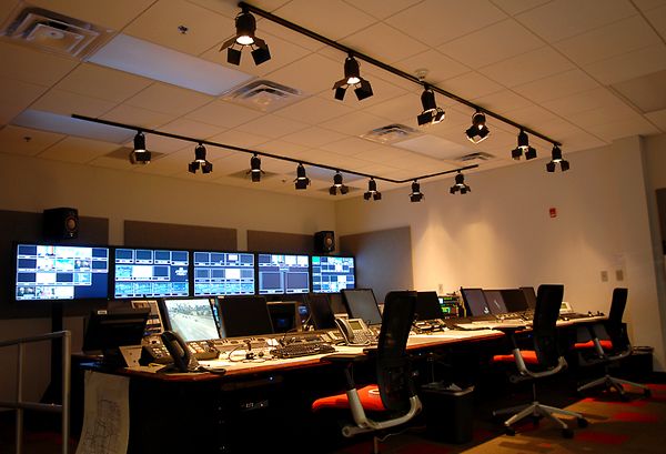 A control room lit with just natural light