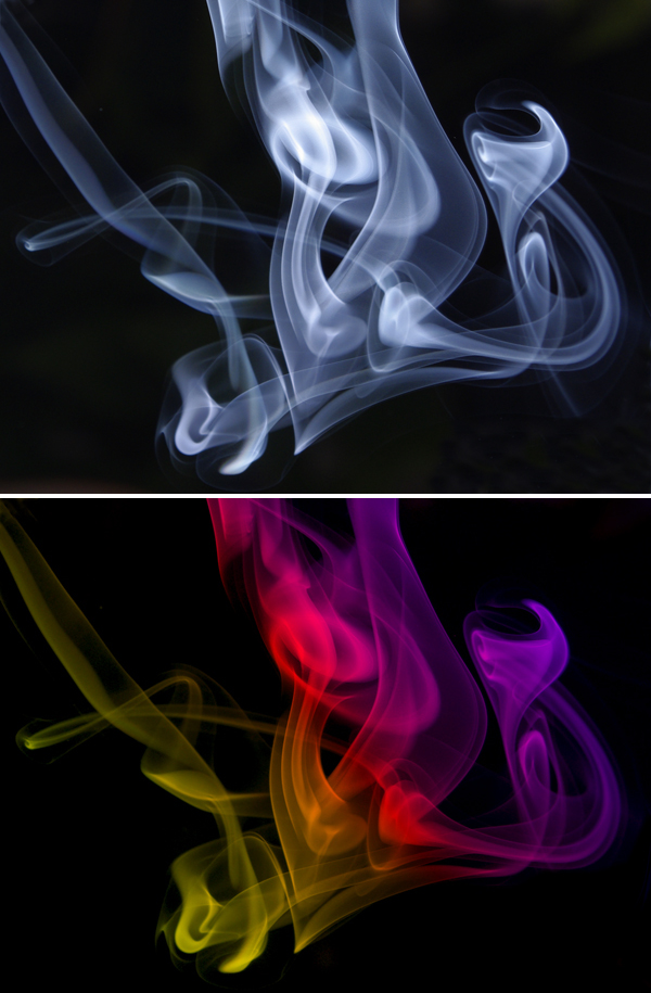 image of coloured smoke on a black background