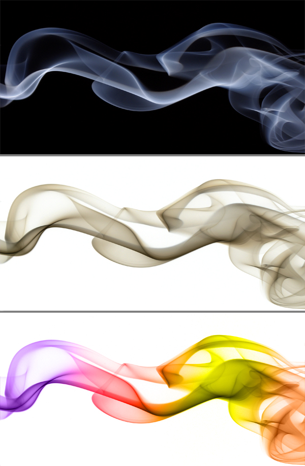 Image of coloured smoke on a white background
