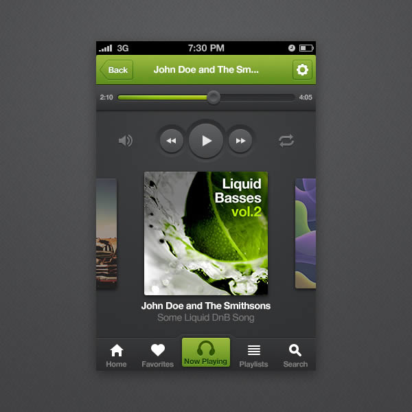 Link toHow to design an iphone music player app interface with photoshop cs6