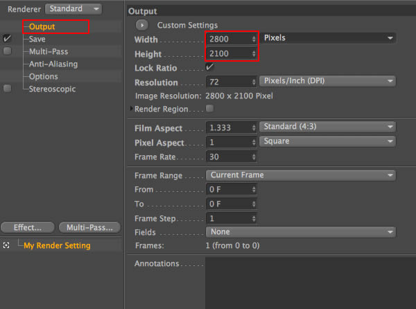 Output Render Settings