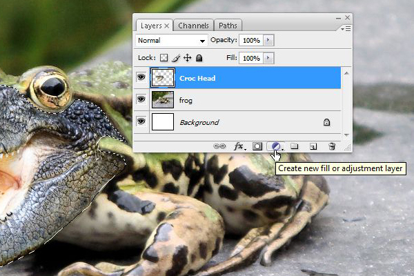 Command-click on the Croc Head layer