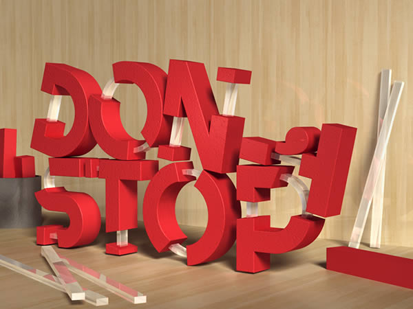 Create 3D Rubber and Glass Text