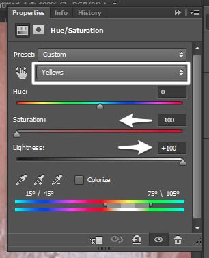 Hue and saturation settings