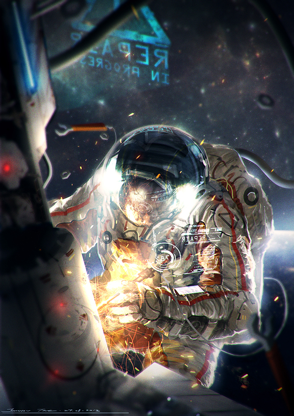 astronaut in space painting - photo #18