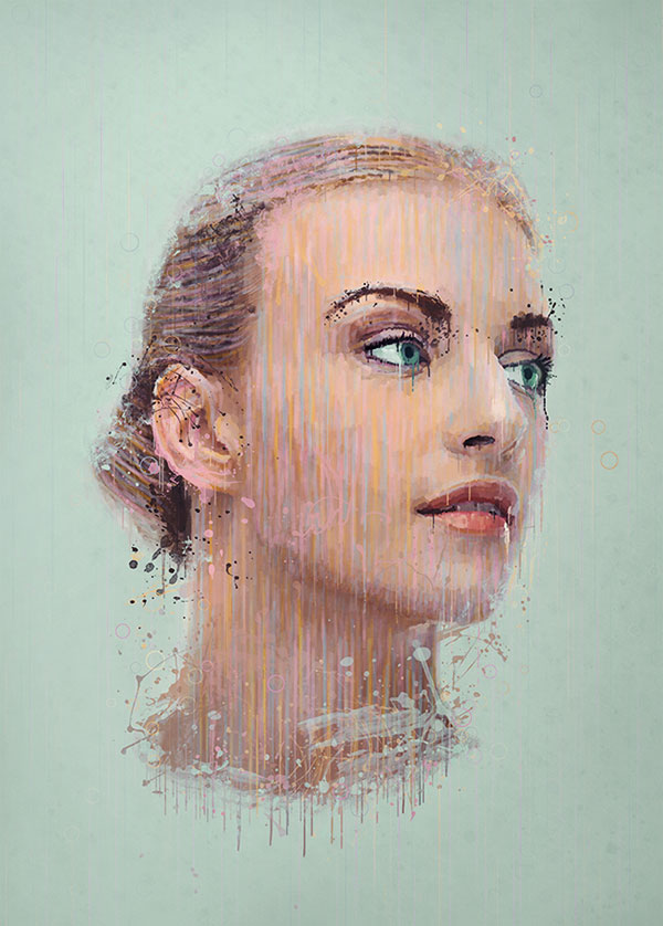 Manipulate a portrait photo to create a splatter paint effect for Portrait painting tutorial