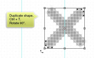 Duplicate shape and rotate it 90