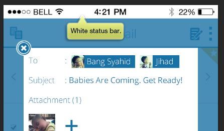 white status bar