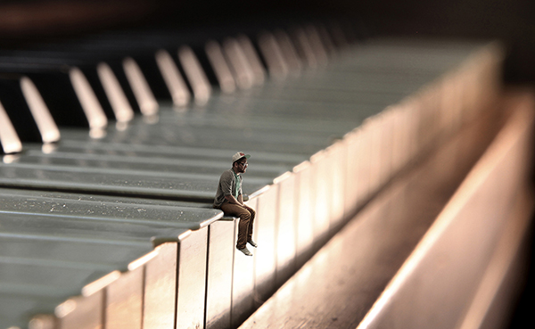 Create a surreal miniature portrait the shoot for Small size piano