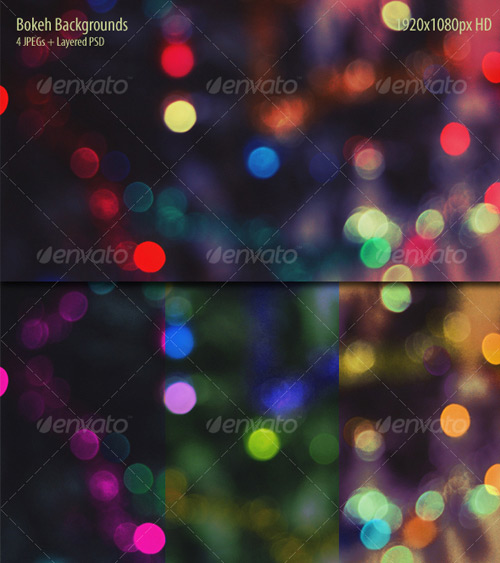 8 Bokeh Effect Backgrounds Textures PSD Included