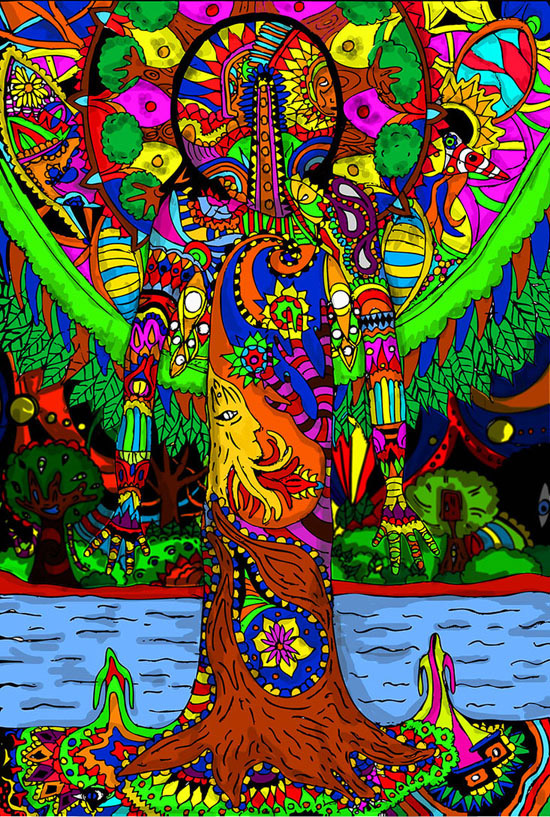 Colorful, Psychedelic-Style Digital Artwork