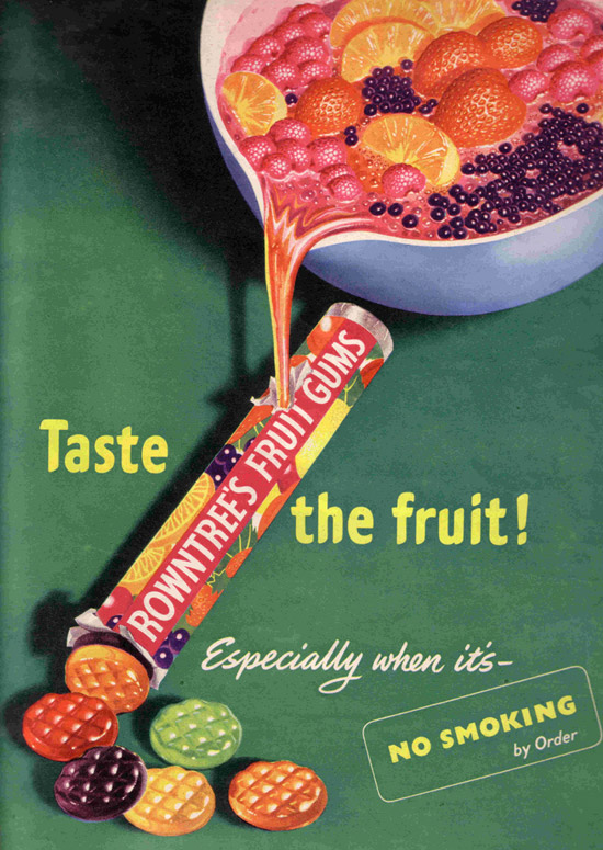 Rowntrees fruit gums 1950/'s  Advertising Poster reproduction