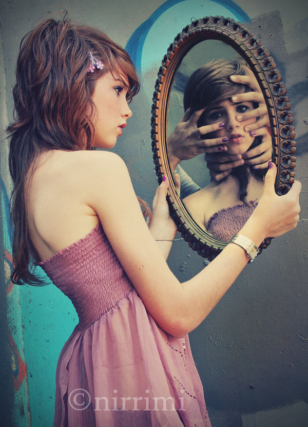Sad Girl Looking In Mirror Drawing Clever Conceptual Photo